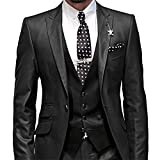 GEORGE BRIDE Herren Anzug 5-Teilig Anzug Sakko,Weste,Anzug Hose,Krawatte,Tasche Platz 002,schwarz S