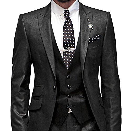 GEORGE BRIDE Herren Anzug 5-Teilig Anzug Sakko,Weste,Anzug Hose,Krawatte,Tasche Platz 002,schwarz M