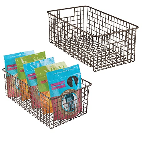 mDesign Farmhouse Decor Metal Wire Food Organizer Storage Bin Basket with Handles for Kitchen Cabinets, Pantry, Bathroom, Laundry Room, Closets, Garage - 2 Pack - Bronze