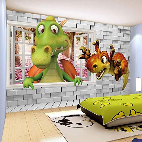 WJbxx Foto Mural Papel Tapiz Fotográfico Dibujos Animados En 3D Lindo Dinosaurio Ladrillo Ladrillo Habitación De Los Niños Fondo De La Pared Decoración Mural Papel Tapiz Póster Para Niños 250 * 175 Cm