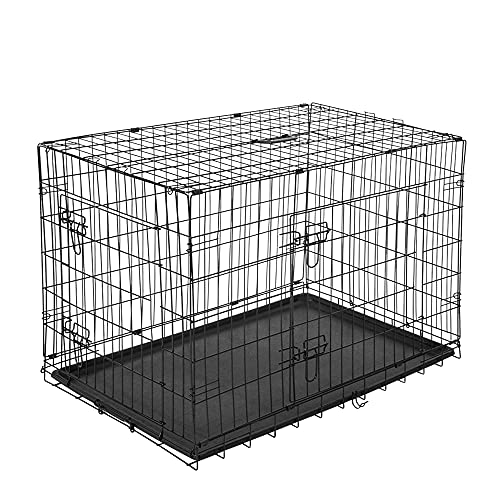 PawHut Gabbia Trasportino per Animali Domestici Pieghevole in Acciaio Doppia Porta 122 × 77 × 82cm Nero