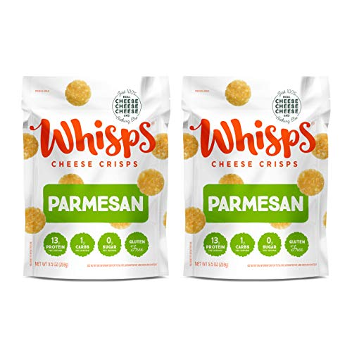 Whisps PARTY SIZE Parmesan Cheddar Cheese Crisps | Back to School Snack, Keto Snack, Gluten Free, Sugar Free, Low Carb, High Protein | 9.5oz (2 Pack)