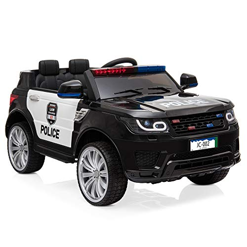 VALUE BOX Kids Ride on Car, 12V 7A Battery Powered Electric Police Truck SUV Vehicle w/ 2.4G Remote Control, Siren, Music, LED Headlights, Microphone, Double Open Doors, Safe Seat Belts - (Black)