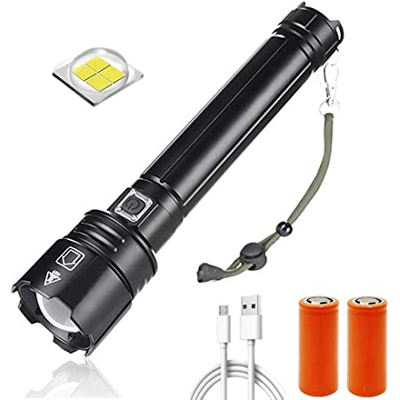 /Étanche Zoomable 5 Modes Pile Rechargeable et Chargeur Incluse XHP90 10000 Lumens Rechargeable USB Torche avec Indicateur de Batterie Lampe de Poche LED Ultra Puissante