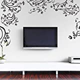 Supzone Flowers Vine Wall Decals Black Flowers Floral Wall Stickers Removable Vinyl DIY Home Wall Art Sticker Murals for Bedroom Living Room Sofa Backdrop TV Offices Wall Decoration