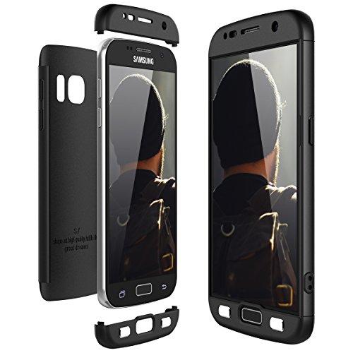 CE-Link für Samsung Galaxy S7 Hülle Hardcase 3 in 1 Handyhülle 360 Grad Full Body Schutz Schutzhülle Anti-Kratzer Elegant Stoßfest Hart PC Skin Bumper - Schwarz
