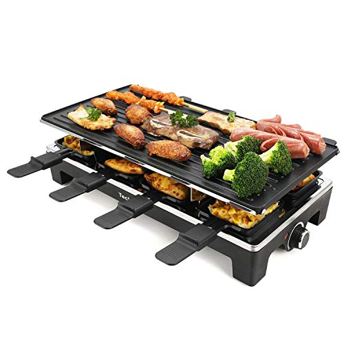 Techwood Raclette Grill Raclette Party Grill Electric BBQ Grill Indoor/Outdoor Grill 1500W Removable Non-Stick Grill Plate Temperature Control
