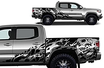 Factory Crafts Nightmare Side Graphics Kit 3M Vinyl Decal Wrap Compatible with Toyota Tacoma 4 Door Short Bed 2016-2020 - Matte Black