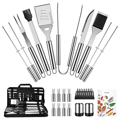 OlarHike BBQ Grill Accessories Set for Men Women, General 22PCS Grilling Accessories Set, Stainless Steel BBQ Tools Gift Utensil with Spatula, Tongs, Skewers for Barbecue, Camping, Kitchen