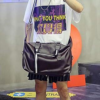 HAWEEL Foldable Travel Bag, PU Leather Shoulder Travel Bag Leisure Sport Handbag (Color:Black Size: + L) (Color : Brown)