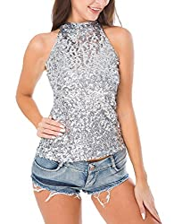 Swrose Women's Shimmer Sequins Tank Top on amazon