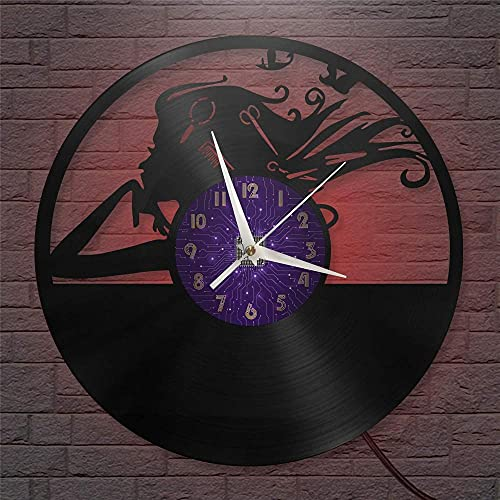 XYVXJ Reloj de Pared con Disco de Vinilo de 12 Pulgadas para Mujer, con Pilas, silencioso y sin tictac, para Cocina, hogar, Sala de Estar, Dormitorio, Escuela, con LED
