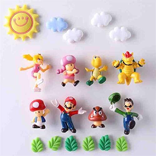 Calamita da frigo Nuovo 8 / 19PCS Nuovo Arrivo 3D Super Mario Bros frigo magneti Messaggio Adesivo Adulto Uomo Ragazza Ragazzo Bambini Giocattolo Regalo di Compleanno (Color : 19Pcs)