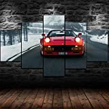 WKXZZS Ferrar GTO 1984 Classic Car Poster Cuadros Modernos Impresión de Imagen Artística Digitalizada,para Salon,Dormitorio,Baño,Comedor 5 Piezas 200x100cm