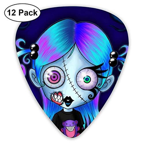 Halloween Girl Voodoo Doll Gothic Cute Zombie Ultra Light Impreso Redondo Plana Suave Plástico Jazz Acústica Eléctrica Bajo Guitarra Pick Accesorios Paquete de variedad