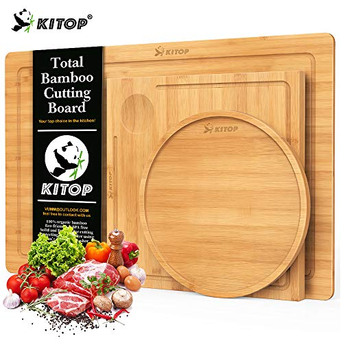 Bamboo Multi-Functional Cutting Board Set of 3 - Wood Serving Tray and Fruits Plate with Juice Groove for Cutting Vegetables, Meat, Fruits and Cheese | 100% Bamboo Butcher Block, BPA Free