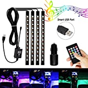AMBOTHER Car Interior Lights, 12V LED Strip Lights, 8-Color Decorative Footwell Strip Light 4x12 LED Neon Lamp Waterproof Wireless Remote for Car Home Room Party(with Cigarette Lighter)