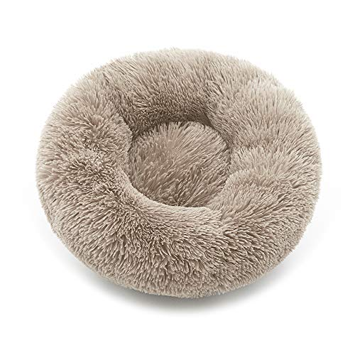 Luciphia Round Dog Cat Bed Donut Cuddler, Faux Fur Plush Pet Cushion for Large Medium Small Dogs, Self-Warming and Cozy for Improved Sleep Tan, X-Large(30'x30')