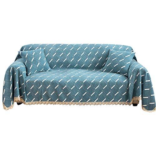 ZHFEL Funda de Sofá,Universal Cubre Sofa para 1 2 3 4 Plazas Antideslizante Suaves Protector para Muebles AntiArañazos Funda para sofá para Sala Dormitorio-180x320cm(70'x125')-Azul