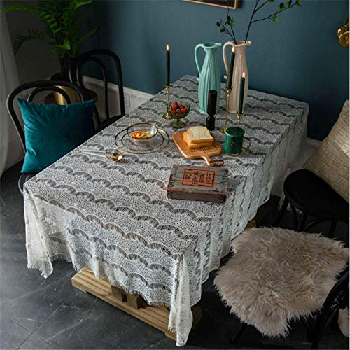 SONGHJ Rustico Pizzo Rettangolare Tovaglia Bianca Tavolino Scrivania Copridivano per Giardino di Nozze Tovaglia G01 150x350cm