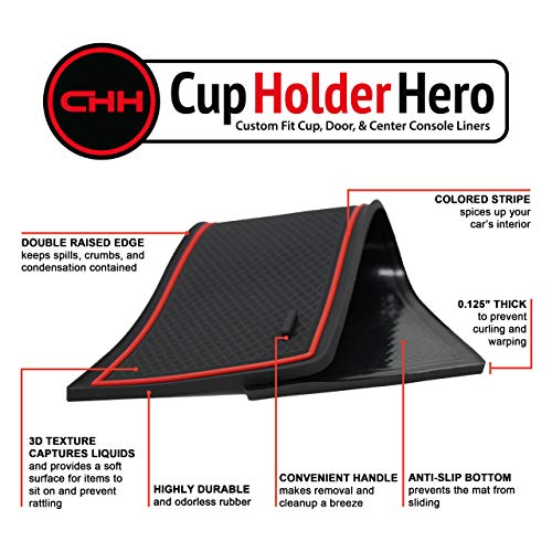 Custom Fit Cup and Center Console Liner Accessories for Tesla Model 3 2017 2018 2019 7-pc Set (Red Trim)