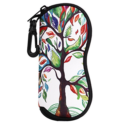 MoKo Sunglasses Soft Case Ultra Light Neoprene Zipper Eyeglass Case with Belt Clip, Lucky Tree