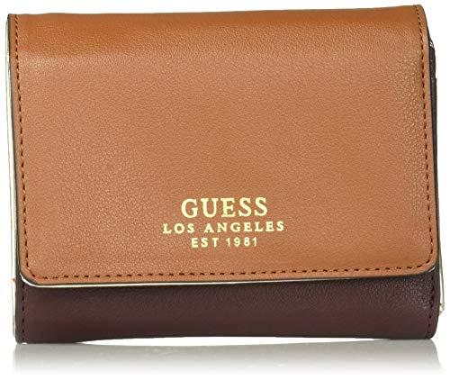 Guess Damen Small Trifold Wallet Ella Kleine Brieftasche, dreifach klappbar, Cognac, Einheitsgröße