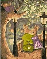DIY数字油絵 塗り絵キット パズル油絵 木の下でカップルのウサギを抱きしめる 数字キットによる絵画 子ども塗り絵 手塗り デジタル油絵 ホームデコレーション 40x50cm(額縁なし)