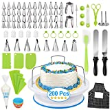 Cake Decorating Kit,200 Pcs Baking Supplies Tools with Cake Turntable, 56 Cake Icing Tips, Pastry Bags Frosting Spatula Cake Baking Set for Beginners Cake Lovers, Baking Tools for Adults Teens