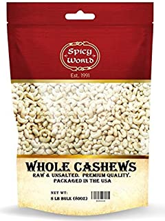 Spicy World Raw Cashews Whole 5 Pound Bulk - Unsalted, Natural & Pure