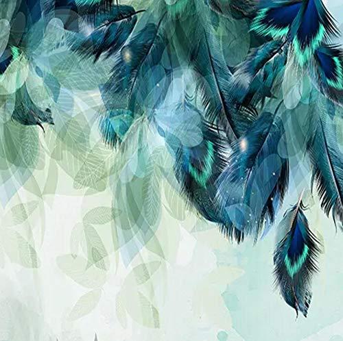 Fototapete Nordische minimalistische blaue Feder Moderne Wanddeko Design Tapete Wandtapete Wand Dekoratio TV Hintergrundwand 450x300 cm