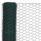 FESTNIGHT Drahtgeflecht mit PVC-Beschichtung | Sechseckig Maschendrahtzaun | Gartenzaun | Kaninchendraht | Sechseckgeflecht | Grün Stahl 25x2 m