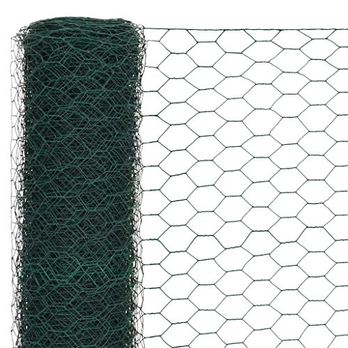 Festnight Mallas de Alambre Malla Hexagonal Valla Metalica, Longitud de Malla 50 mm Acero con Recubrimiento de PVC Verde