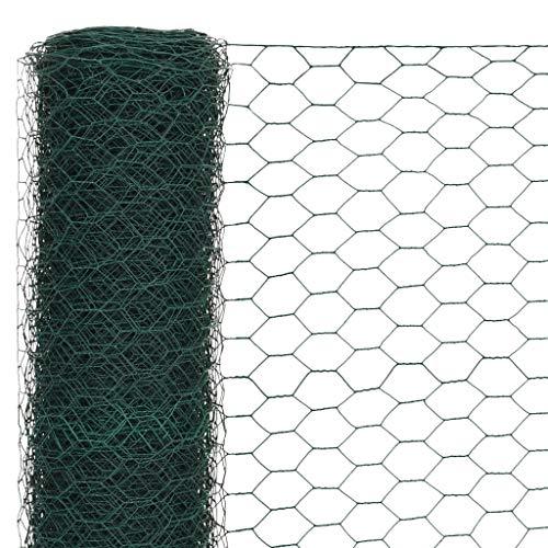 Tidyard Maschendrahtzaun mit PVC-Beschichtung- Hundezaun Katzenzaun Hühnerzaun, grün, 1,2 m H?he, 25 m Rolle, Maschenweite 50 mm, Drahtst?rke 1,1 mm