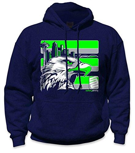 SafetyShirtz Men's Green/Navy Seattle Hooded Sweatshirt, Medium