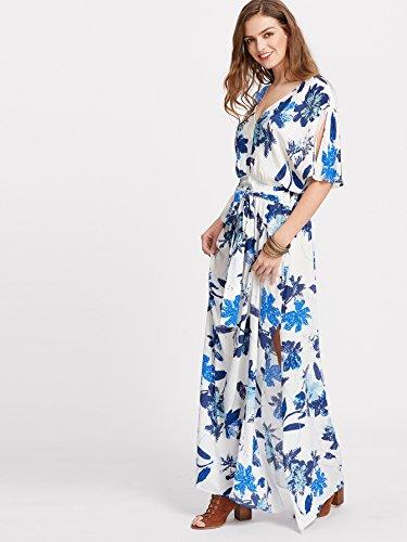 Milumia Women's Boho Split Tie-Waist Vintage Print Maxi Dress Large White-Blue