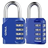 ?Nueva Versión?ORIA Candado de Combinación, 2Pcs Candado de Seguridad con Combinaciones de 4 Dígitos, Reajustable y Impermeable, Ideal para Locker de Gimnasia Escolar, Archivadores y Más ? Azul