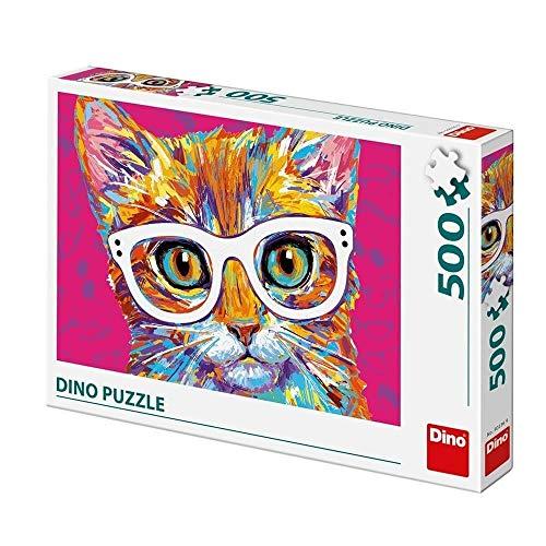 dino Puzzle 500 pièces - Chat avec des Lunettes