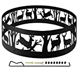 36' Thick Metal Fire Pit Ring for Outdoor Camping Living Wilderness, Heavy Duty Bonfire Liner for Campfire Wood Burning with Extra Poker and Portable Carrying Bag