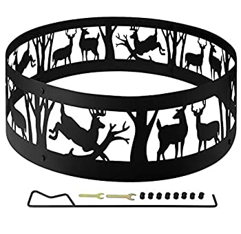 36  Thick Metal Fire Pit Ring for Outdoor Camping Living Wilderness Heavy Duty Bonfire Liner for Campfire Wood Burning with Extra Poker and Portable Carrying Bag