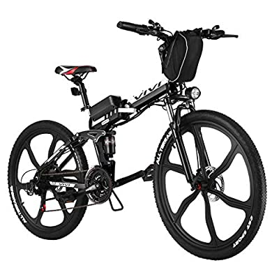 """Vivi Folding Electric Bike Electric Mountain Bicycle 26"""" Lightweight 350W Ebike, Electric Bike for Adults with Removable 8Ah Lithium Battery,Professional 21 Speed Gears (26inch-Black)"""