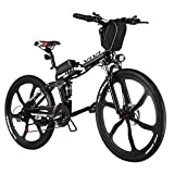 Vivi Folding Electric Bike Electric Mountain Bicycle 26' Lightweight 350W Ebike, Electric Bike for Adults with Removable 8Ah Lithium Battery,Professional 21 Speed Gears (26inch-Black)
