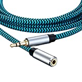 Hftywy AUX Extension Cable 3 ft 3.5mm Male to Female Stereo Audio Extension Cable Headphone Extension Cable Compatible for iPhone, iPad, Smartphones, Tablets, Media Players
