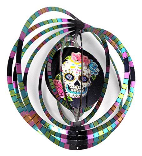 WorldaWhirl Whirligig 3D Wind Spinner Hand Painted Stainless Steel Twister Skull Face Flowers (6.5 Inch, Multi Color)