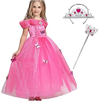 Robe Princesse Enfant Fille Liuimiy Tenue Magnifique Deguisement Carnaval Costume Rose D Halloween Cosplay Anniversaire Fete Avec Couronne Baguette Amazon Fr Bebes Puericulture