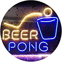 Beer Pong Bar Game Pub Dual Color LED看板 ネオンプレート サイン 標識 青色 + 黄色 300 x 210mm st6s32-i3495-by