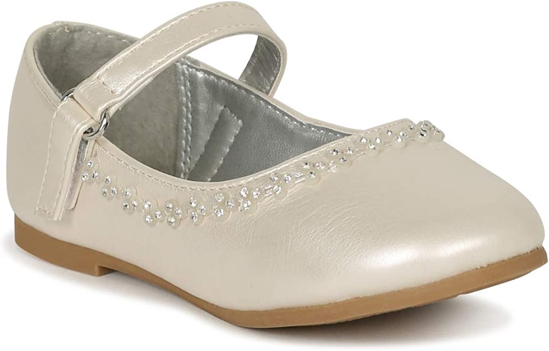 Alrisco Toddler/Little Girls Round Toe Rhinestone Mary Jane Rhinestone Ballet Flat SG46 - Ivory Leatherette (Size: 5 Toddler)
