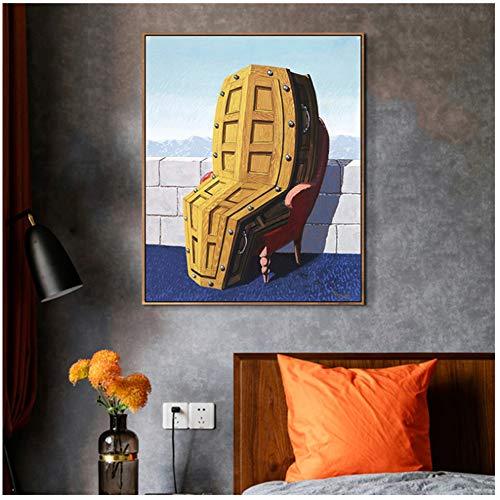 A&D Rene Magritte Leinwand Wohnkultur Gemälde Modulare Bilder Moderne Gedruckt Kreative Poster Für Wohnzimmer Wandkunst-50x70 cm Kein Rahmen