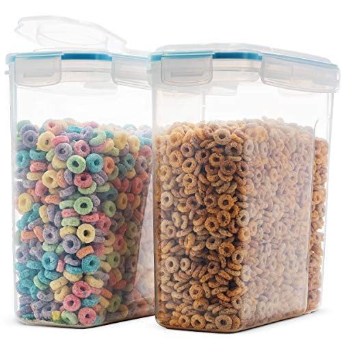 Komax Biokips, The Original Airtight Cereal Container, 4 Side - Locking Lid, Watertight - Bpa-Free Plastic - Great Food Storage Keeper For Flour Sugar Dry Food. 16.9 Cup 135.5 Ounce, Set Of 2