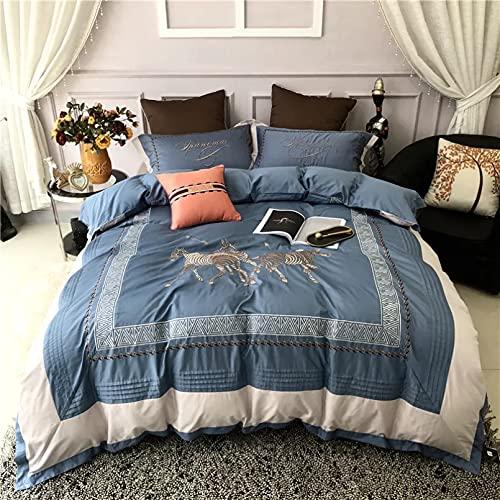 Yinyue Juego de Cama de Tres Piezas Lujo Caballo Bordado algodón Azul Gris Juego de Cama Funda nórdica Fundas de Almohada Sin sábanas, sin Regalos